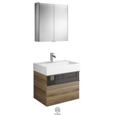 Burgbad Yumo Badmöbel Set 3 - 67 cm, Spiegelschrank, Mineralguss-Waschtisch, 1 Schublade m. Rauchglas, 1 Auszug- B: 665 H: - T: 470