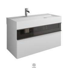 Burgbad Yumo Waschtisch mit Unterschrank Set 3 - 102 cm, Mineralguss-Waschtisch, 1 Schublade mit Rauchglaseinsatz, 1 Auszug- B: 1015 H: 610 T: 470