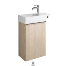 Burgbad Yumo Waschtisch mit Unterschrank Set 9 Gäste Bad - 51 cm, Mineralguss-Waschtisch, 1 Tür, 1 Handtuchhaken- B: 505 H: 711 T: 265