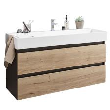 Puris 4landa Waschtisch mit Unterschrank Set 3 - 122 cm, Keramik-Waschtisch und Unterschrank mit 2 Auszügen- B: 1220 H: 690 T: 450