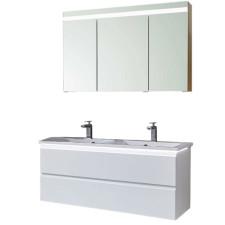 Puris Ace Badmöbel Set 8 - 122 cm Doppelwaschtisch Spiegelschrank