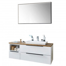 Puris Aspekt Badmöbel Set 17 - 131 cm, Flächenspiegel, Mineralguss-Waschtisch, Waschtischunterschrank- B: 1306 H: - T: 495