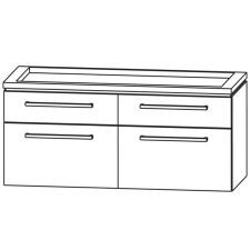 Puris Cool Line Waschtischunterschrank für Keramik Doppel WT 120 cm 4 Auszüge Sk