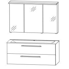 Puris Fine Line Badmöbel Set - 122 cm Skizze
