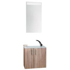 Puris For Guests Badmöbel Set 2 mit Glas WT Flächenspiegel WTU mit 2 Drehtüren