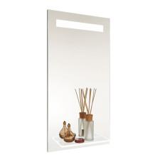Puris For Guests Flächenspiegel - 40 cm, 1 Lichtfenster oben und 1 beleuchteter Glasfachboden- B: 400 H: 800 T: 128
