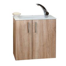 Puris For Guests Glas Waschtisch mit Unterschrank 50 cm