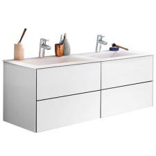Puris Ice Line Doppel-Waschtisch mit Unterschrank - 122 cm