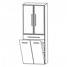 Puris Kao Line Hochschrank 2 Alu Rahmentüren - 60 cm Skizze