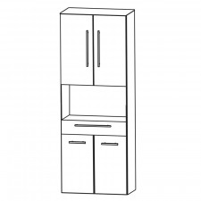 Puris Kao Line Hochschrank - 60 cm 4 Türen, offenes Fach Skizze