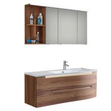 Puris Purefaction Badmöbel Set 7 - 121 cm, Spiegelschrank, Mineralgusswaschtisch und Waschtischunterschrank, 2 Auszüge- B: 1212 H: - T: 517