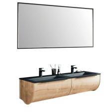 Puris Rounds Badmöbel Set 20 - 143,2 cm, Flächenspiegel, Doppelwaschtisch STONEPLUS oder Glas, Unterschrank- B: 1432 H: - T: 500