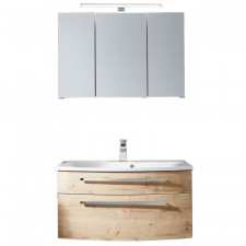 Puris Speed Badmöbel Set - 82 cm - Spiegelschrank, Mineralguss oder Keramik Waschtisch, Waschtischunterschrank- B: 820 H: - T: 547