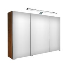 Puris Speed Spiegelschrank - 100 cm, 3 Spiegeltüren, 6 Glasfachböden und 1 LED-Flächenleuchte- B: 1000 H: 640 T: 150