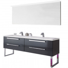 Puris Star Line Badmöbel Set 4 - 160 cm, Flächenspiegel, wählbarer Waschtisch, Waschtischunterschrank- B: 1606 H: - T: 495