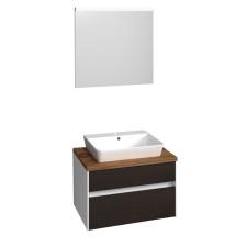 Puris Unique Badmöbel Set 1 - 72,6 cm, Flächenspiegel,  Keramik-Aufsatzwaschtisch, Waschtischunterschrank