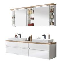 Puris Unique Badmöbel Set 20 - 172 cm, Spiegelschrank, 2 Aufsatz-WT, Waschtischplatte, Waschtischunterschrank- B: 1726 H: - T: 492