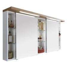 Puris Unique Spiegelschrank - 170 cm, 2 Spiegeltüren, 2 Glasfachböden, 3 Regale, LED-Beleuchtung- B: 1700 H: 668 T: 150