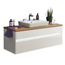 Puris Unique Waschtisch mit Unterschrank Set 3 - 120 cm mit 1 Schubkasten, 1 Auszug und Keramik Aufsatz-Waschtisch- B: 1226 H: 568 T: 495
