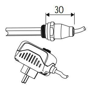 Heizstab: 2 - IP30, Ein-/Aus-Schalter, Raumtemperaturregler, 300W