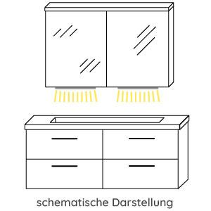 Waschplatz-Beleuchtung: 2x mit je 12V LED, 3,2W, Breite: 650 mm