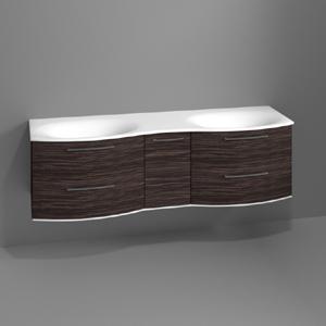 Waschtischunterschrank: mit 4 Auszügen, 1 Drehtür, mit Beleuchtung, Breite: 1700 mm