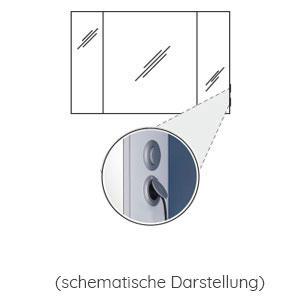 Position Schalter-Steckdosen-Element: rechts außen - für Spiegelschrank 1200 mm breit