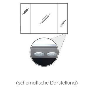 Position Schalter-Steckdosen-Element: unten - für Spiegelschrank 1200 mm breit