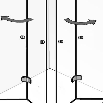 Zusatzgriff: mit zusätzlichen Griffen an dem jeweils 2. Türelement