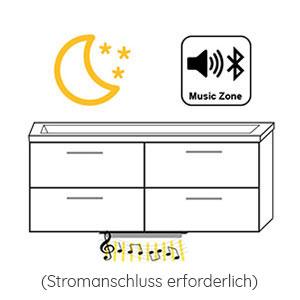 Indirekte Beleuchtung / Soundsystem: mit LEDmotion & MusicZone 12V LED, 10 Watt, Breite: 670 mm