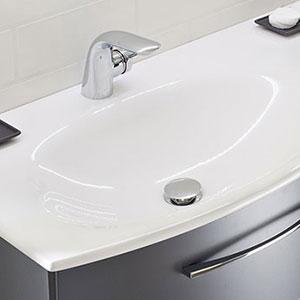 Waschtisch-Typ / -Farbe: Mineralmarmor-Doppelwaschtisch - 173 cm, Glanz
