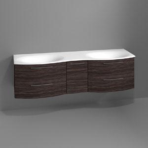 Waschtischunterschrank: 4 Auszüge / 1 Drehtür - Breite: 170 cm