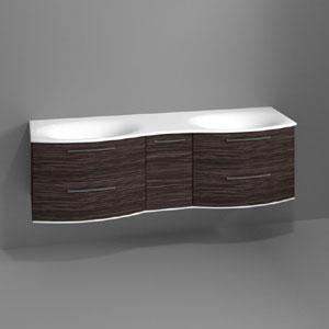 Waschtischunterschrank: 4 Auszüge / 1 Drehtür, inkl. Beleuchtung - Breite: 170 cm
