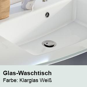 Waschtisch-Typ / -Farbe: Glas-Waschtisch Klarglas-Weiß  Breite: 1210 mm
