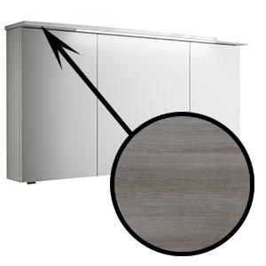 Spiegel-Beleuchtung: im Kranz - 6,5W, 1220 mm breit - Graphit Struktur quer NB