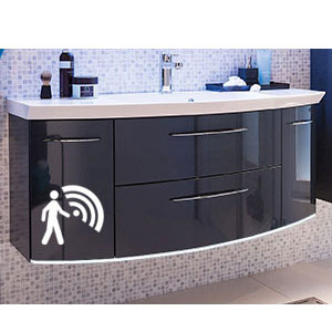 Waschtischunterschrank: 2 Auszüge, 2 Drehtüren, Beleuchtung - B: 119 cm - Basis X
