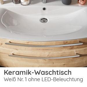 Waschtisch-Typ / -Farbe: Keramik Weiß 102 cm Breite ohne LED-Beleuchtung