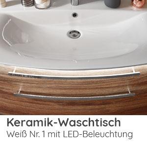 Waschtisch-Typ / -Farbe: Keramik Weiß 102 cm Breite mit LED-Beleuchtung