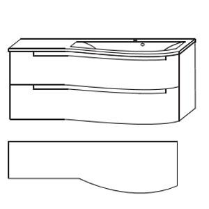 Ausführung Waschtisch mit Unterschrank: Mineralguss-Ablage links 1212 mm Breite-ohne LED-Beleuchtung