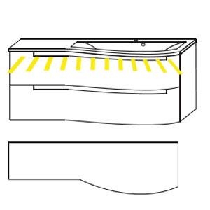 Ausführung Waschtisch mit Unterschrank: Mineralguss-Ablage links 1212 mm Breite-mit LED-Beleuchtung