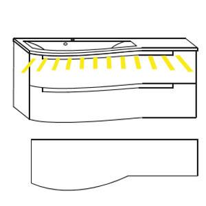 Ausführung Waschtisch mit Unterschrank: Mineralguss-Ablage rechts 1212 mm Breite-mit LED-Beleuchtung