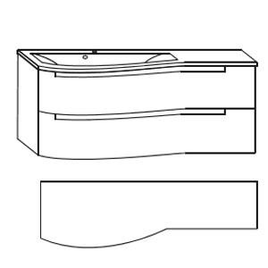 Ausführung Waschtisch mit Unterschrank: Mineralguss-Ablage rechts 1212 mm Breite-ohne LED-Beleucht.