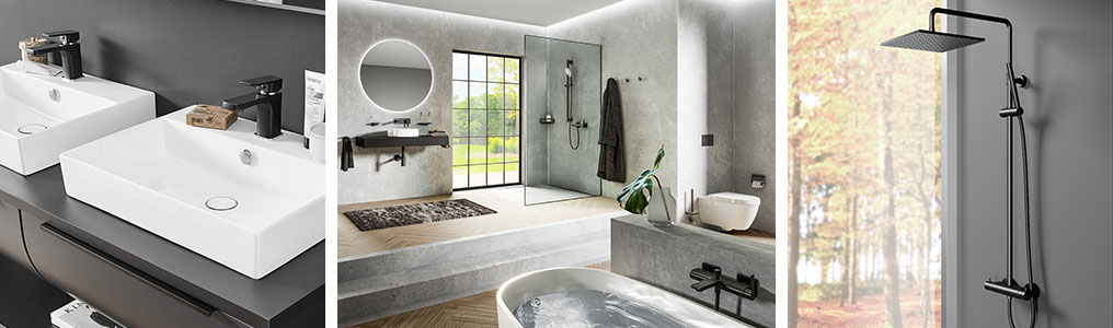 Badarmaturen für Waschtisch, Badewanne und Dusche in schwarz