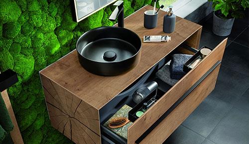 Lanzet Woodblock Waschtisch Schwarz mit Unterschrank