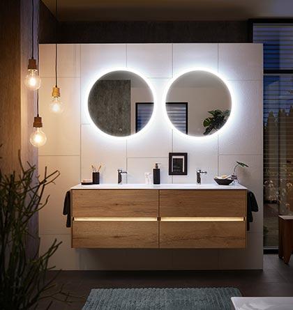 Pelipal Solitaire 6010 Badmöbel Set Holz LED Beleuchtung