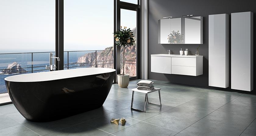 Riho Solid Surface Freistehende Badewanne Bilbao Schwarz matt
